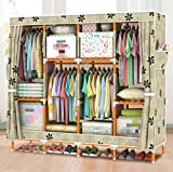 GL&G Portable Clothes Closet Oxford cloth Wardrobe Double Rod Storage Organizer Bedroom double people Wardrobes Solid wood Clothing Storage Foldable Closets,C,66''67''