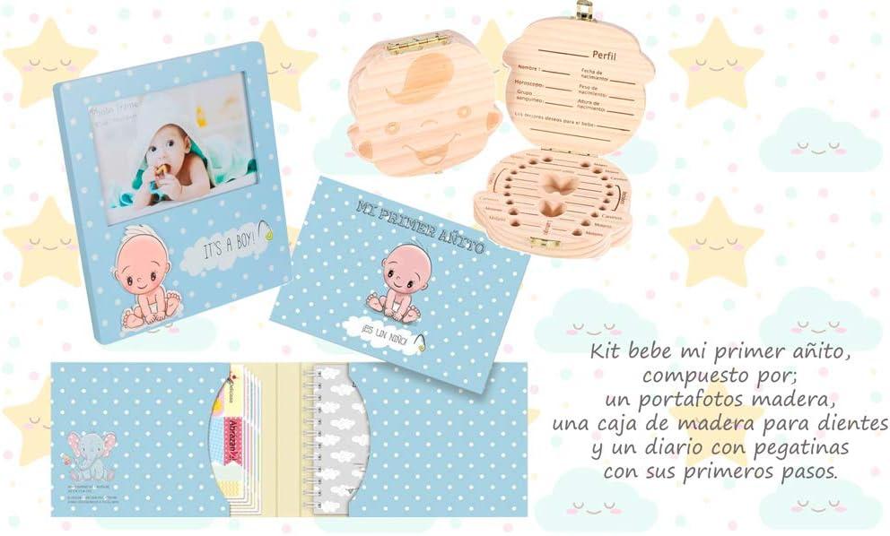 Set Kit 3 Regalos para Bebés Recién Nacidos NIÑO - Diario Niño + Portafotos Niño + Cajita Caja Dientes - Regalos Prácticos y Originales