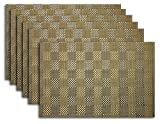 Placemat Set of 4/6 Reversible Square Check Plaid Style Kitchen Table Decor Woven Vinyl Table Placemats Set Home Dinner Decorative by Secret Life (6, Check Gold)