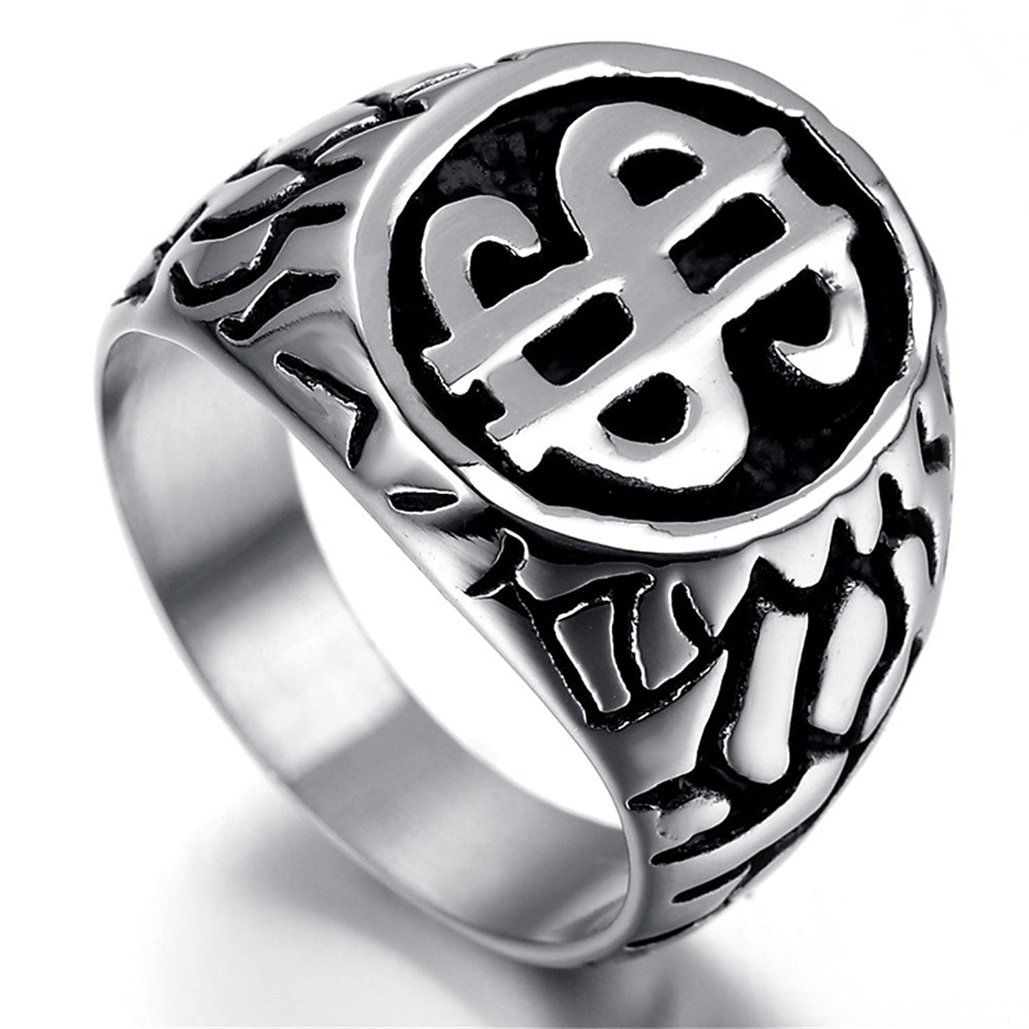 Kstyle Jewelry Mens Stainless Steel Ring, Vintage, Dollar Sign, KR2024