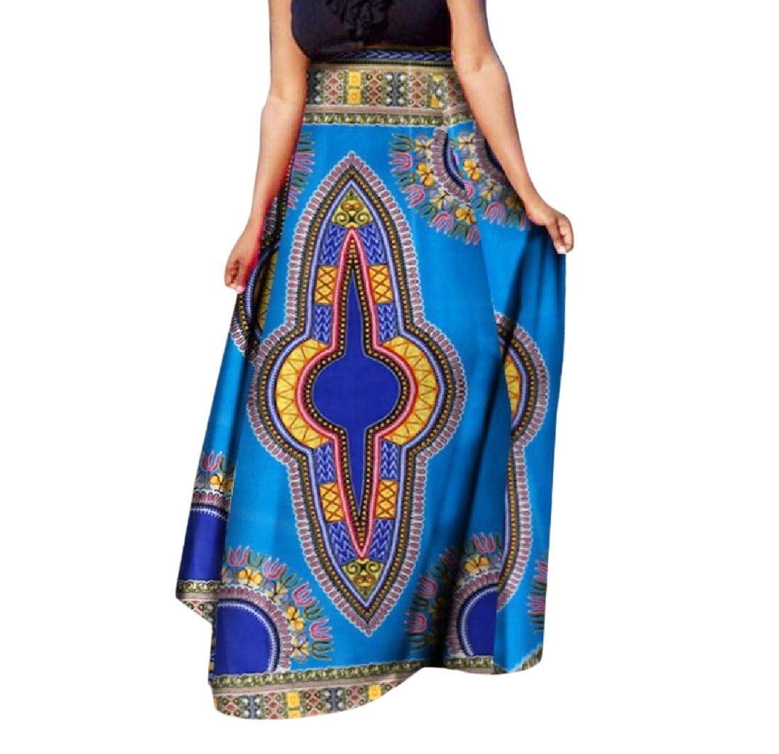 Mfasica Women's Half Big Pendulum Dashiki African Print Classic Long Skirt 12 6XL