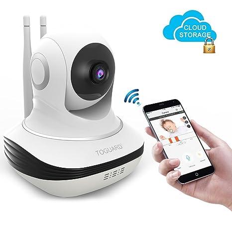 TOGUARD Cámara IP de Seguridad WiFi con Almacenamiento en Amazon Cloud, Cámara de Videovigilancia HD 720p, Rotación Cámara para Bebés con P2P, IR-CUT, ...