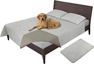 Easy-Going 100% Waterproof Dog Bed Cover Furniture Protector Sofa Cover Non-Slip Washable Reusable Incontinence Bed Underpads for Pets Kids Children Dog Cat(52X82 in,Light Gray)