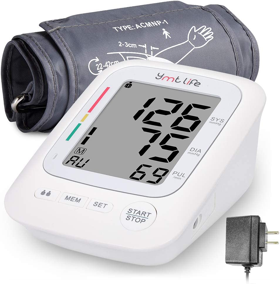 Home Blood Pressure Monitor – Upper Arm Blood Pressure Device with LCD Screen – Premium Home Health Gadget – Resistant Cuffs for Regular and Large Arms – Easy to Use & Read