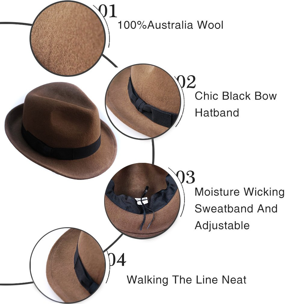 f0b19aefd1e Wool Trilby Hat Felt Fedora Hats Men Women Dress Wide Brim Gangster Gatsby Caps  with Black Band at Amazon Men s Clothing store
