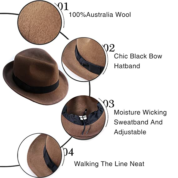 Wool Trilby Hat Felt Fedora Hats Men Women Dress Wide Brim Gangster Gatsby  Caps with Black Band at Amazon Men s Clothing store  44388e13c2
