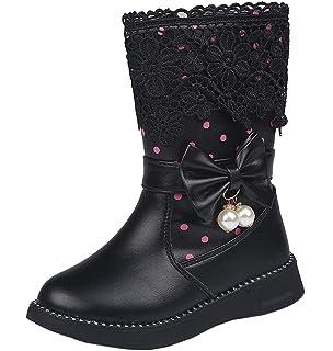 CYBLING Girl Fashion Kid Bowknot Fur Lining Mid-Calf Boot Warm Shoes