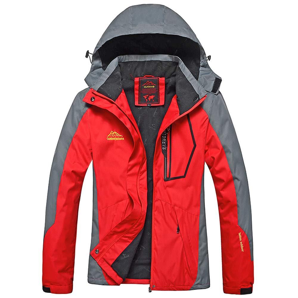 3XL iYBUIA Womens Spring Autumn Outdoor Hoodie Zipper Hat Removable Sport Waterproof Windproof Assault Coat M