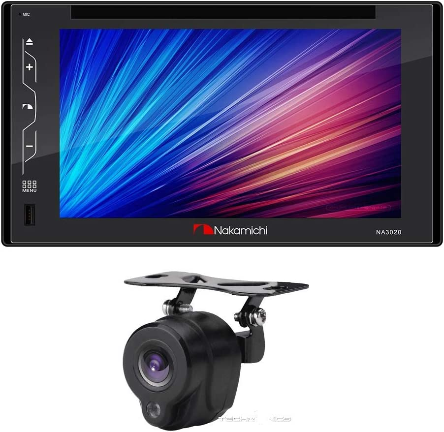 """Nakamichi NA3020 2-DIN 6.2"""" Built-in Bluetooth Touch Screen Full Glass Capacitive Screen with DVD MP3 Player Includes NC5L Back-Up Camera"""