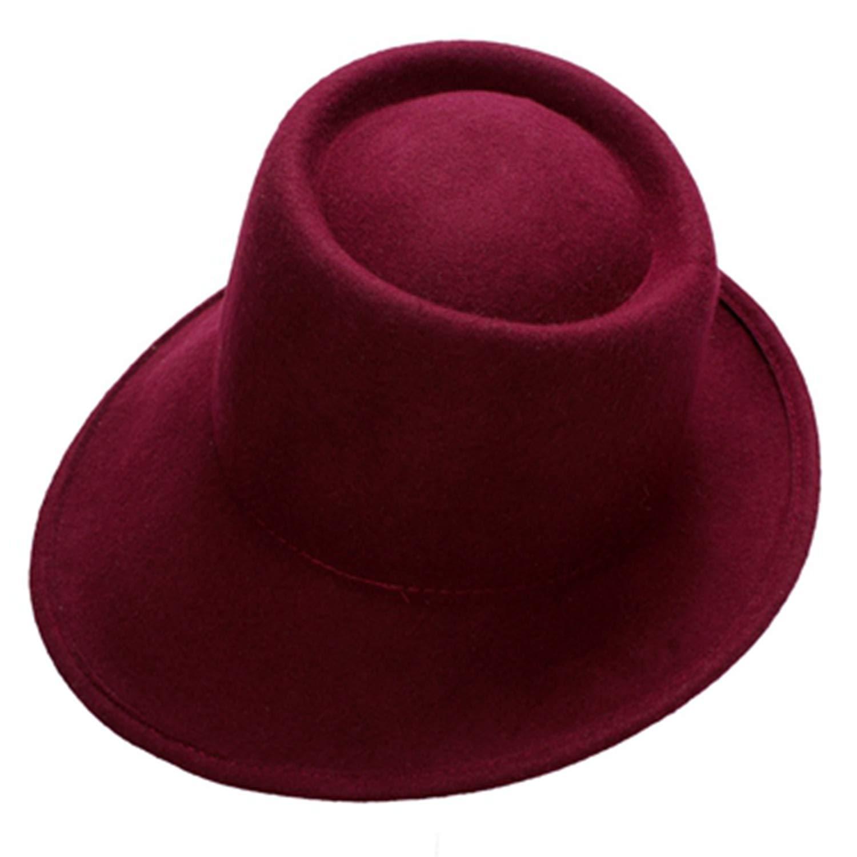 fffc7e66730 Willie Marlow 100% Wool Women Hat Wide Brim Fedora Special Floppy Women  Felt Tilt Asymmetrical Brim Wedding Church Hat 6 Color Wine at Amazon  Women's ...