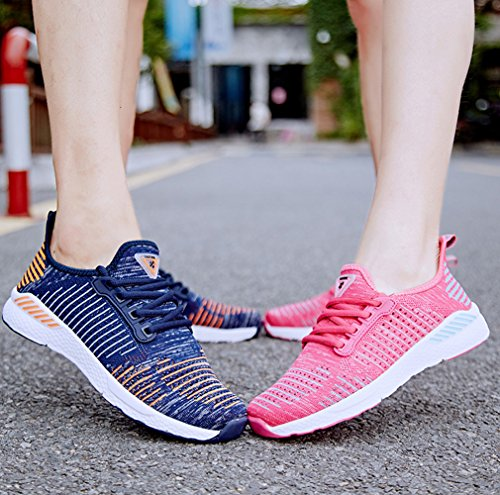 Breathable Orange Casual Womens Flashing Mens Blue Sneakers SenNi and Shoes Athletic Lightweight WwOABa6Fq