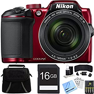 Nikon COOLPIX B500 40x Optical Zoom Digital Camera 16GB Bundle includes Camera, Bag, 16GB Memory Card, Reader, Wallet, AA Batteries + Charger, Screen Protectors, Cleaning Kit and Beach Camera Cloth