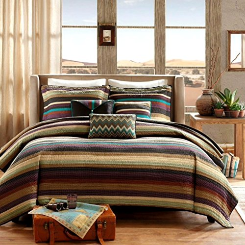 Southwest Turquoise Native American Quilt, Shams, 3 Decorative Pillows + Home Style Sleep Mask Lodge Cabin Southwestern (King/California King)