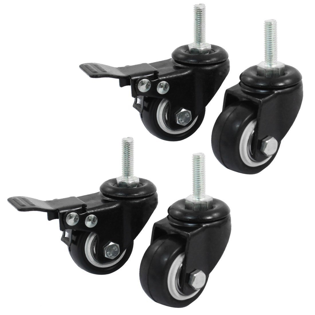 RilexAwhile 4 Pcs Black 1.5'' Caster Set 2 Swivel 2 Rotary Brake for Shopping Carts, Hand Trolley, Tools, Small Equipment Etc. (1.5'')