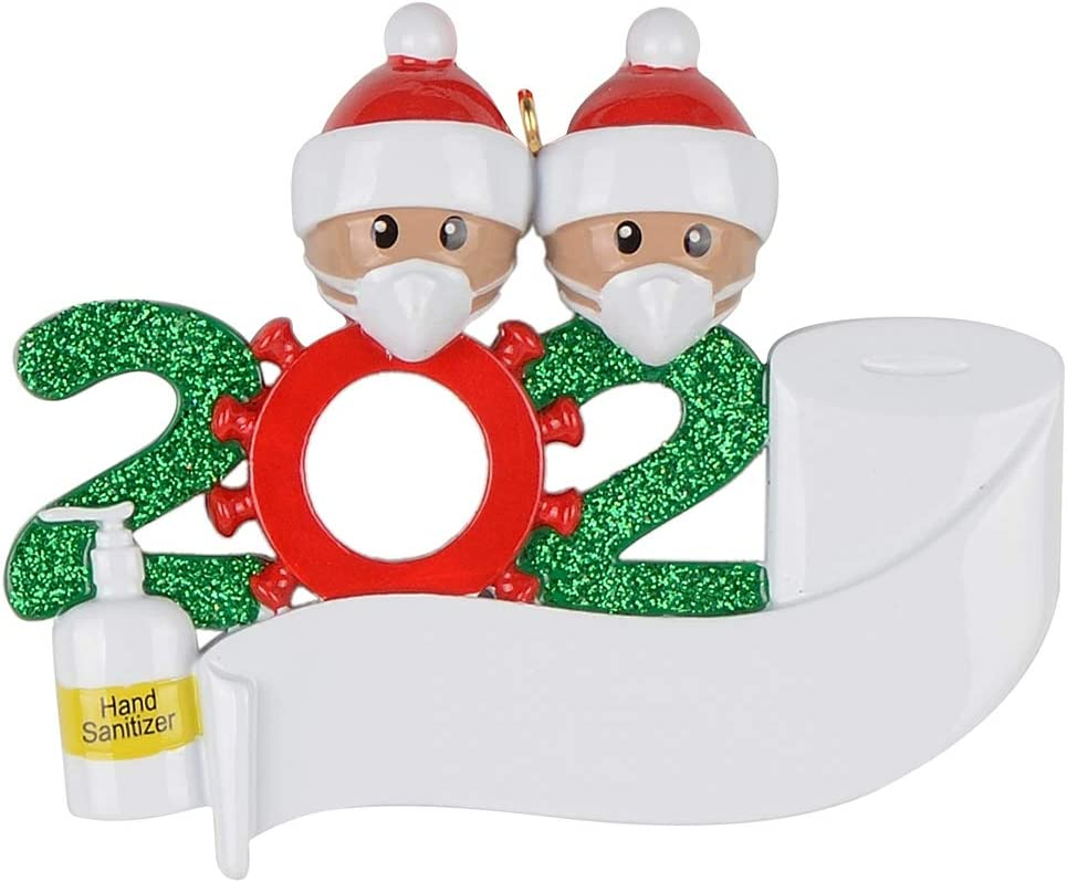 MAXORA 2021 The Year We Quarantined at Home Black Family of 2 Personalized Ornament Christmas Decorations African American Family
