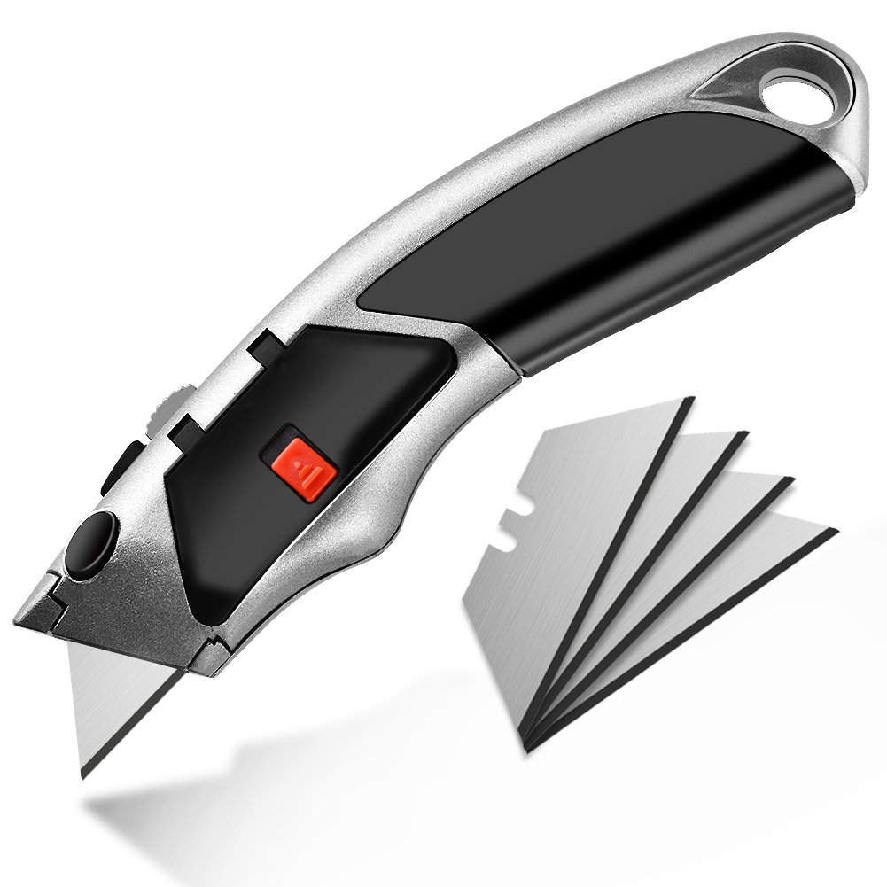 Utility Knife Retractable Safety Trimming Knife Heavy Duty Cutter with Extra Blades and Blade Storage- FraFong by FraFong