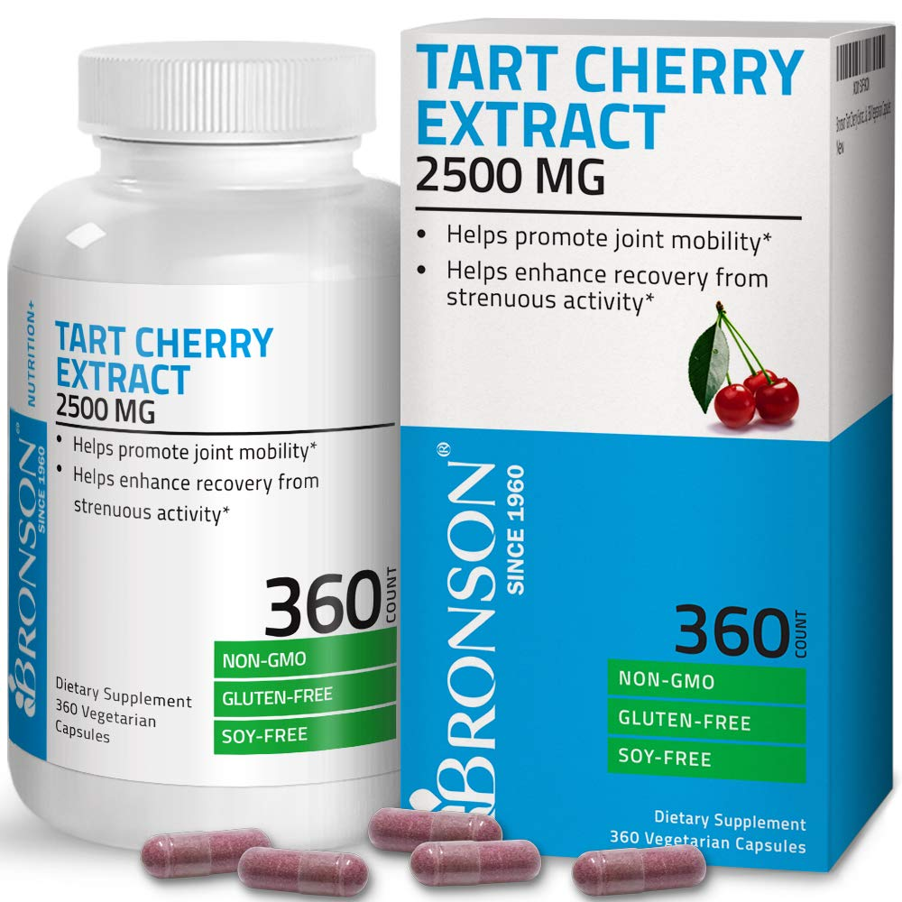 Bronson Tart Cherry Extract 2500 mg Vegetarian Capsules with Antioxidants and Flavonoids Non-GMO Gluten Free Soy Free 360 Count by Bronson