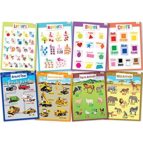 hot sale 8 Educational Posters for Toddlers - Includes: Alphabet ...