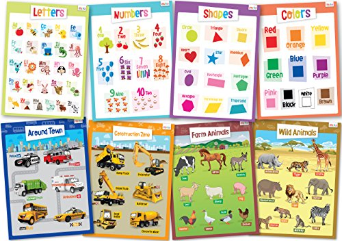 8 Educational Posters for Toddlers Learning Kit - Includes: Alphabet, Numbers, Shapes, Colors, Cars,