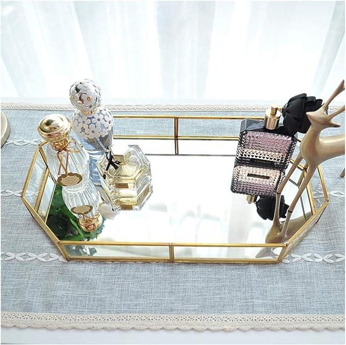 Small Parfum et Maquillage Hggzeg Plateau Rond en m/étal avec Miroir d/écoratif pour Bijoux