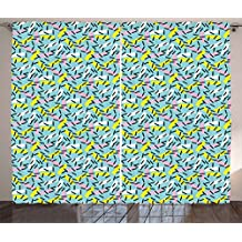 Ambesonne Geometric Curtains, Italian Style Trippy Memphis Bands Postmodern Kitsch Futuristic Abstract Theme, Living Room Bedroom Window Drapes 2 Panel Set, 108 W X 90 L Inches, Multicolor
