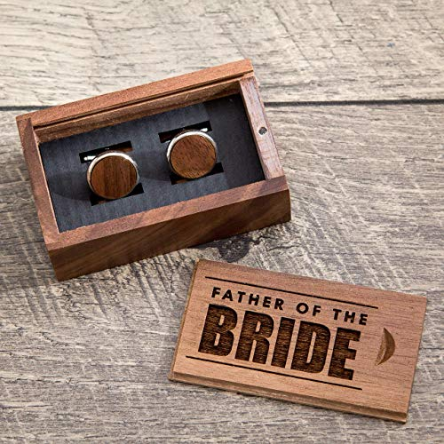 Walnut Gift - Father of the Bride Gift Box with Walnut Wood Cuff Links - Wedding Cufflinks Party Favor