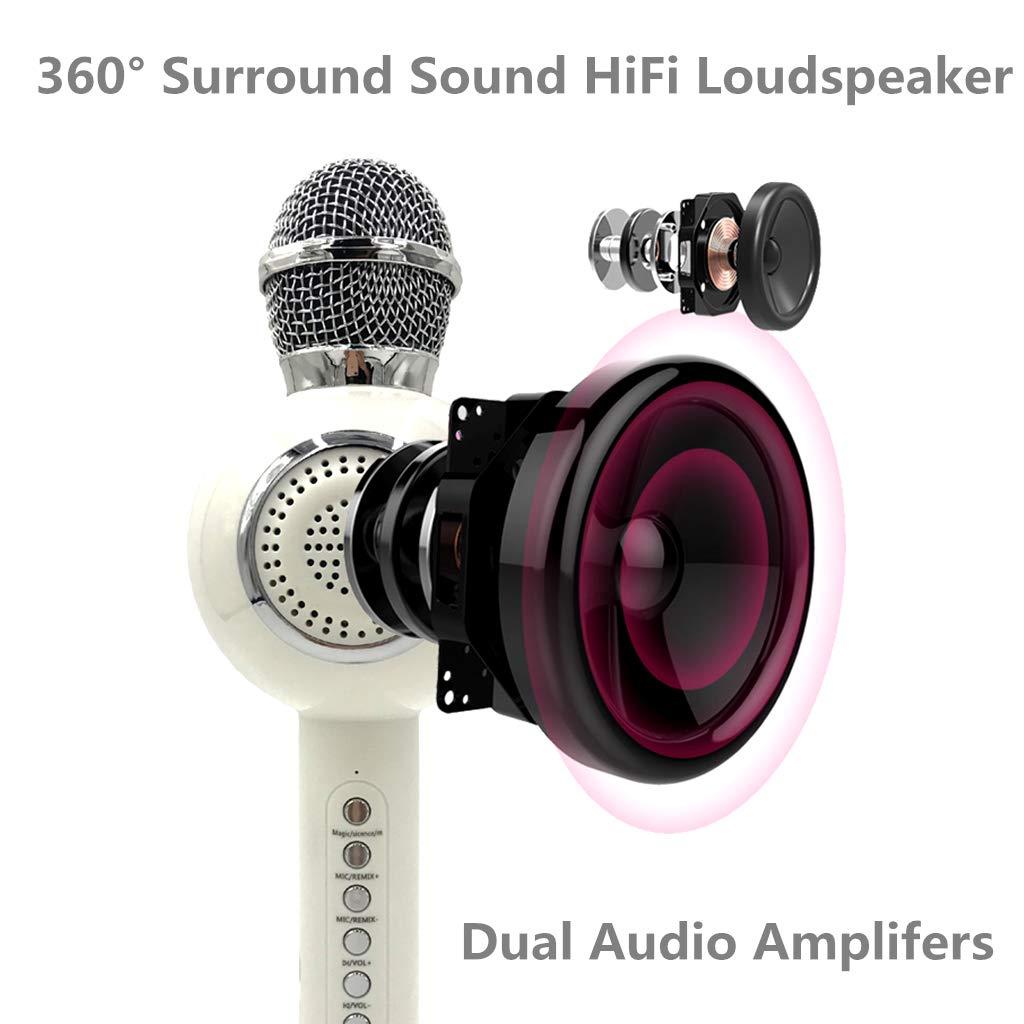 OceanEC Kids Bluetooth Karaoke Microphone, Wireless Rechargeable Portable Handheld Karaoke Music Microphone HiFi Loudspeaker MP3 Player for Kids Adult Home Party (Handheld White) by OceanEC (Image #4)