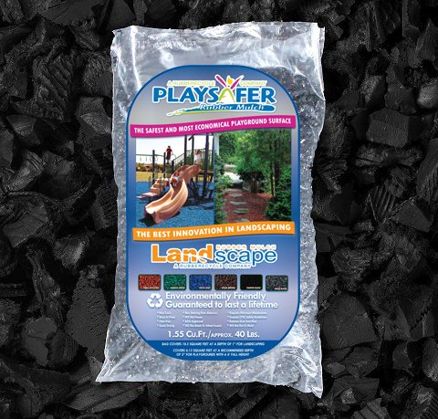 Rubber Landscaping Mulch - Playsafer Black Dyed Rubber Mulch 77 Cu. Ft. - 2000 Lbs. Pallet - 50 Bags