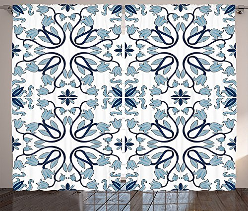 Traditional House Decor Curtains Medieval Persian Palace Flower Leaf Shapes Arabian Decor Artwork Living Room Bedroom Window Drapes 2 Panel Set Light Blue by sophiehome