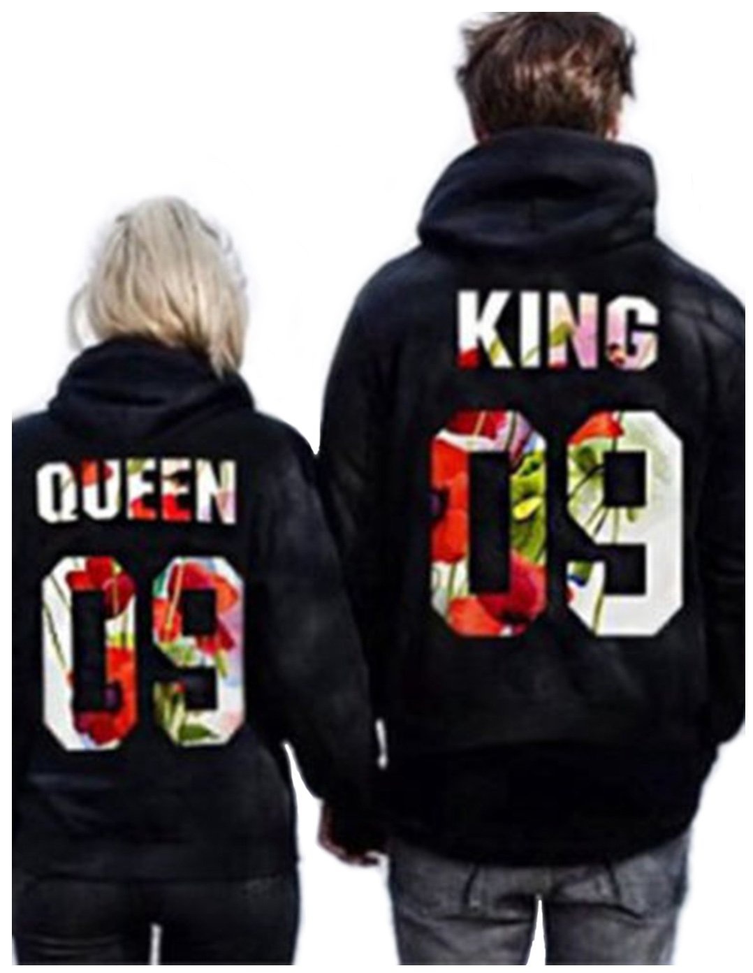 Jingjing1 King and Queen Couple Matching Pullover Hooded Sweatshirt Valentine's Day Gift (L, King)