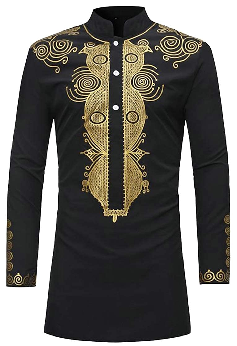 Cromoncent Men Stand Collar Vogue Muslim Ethnic Style Print Button Down Shirts