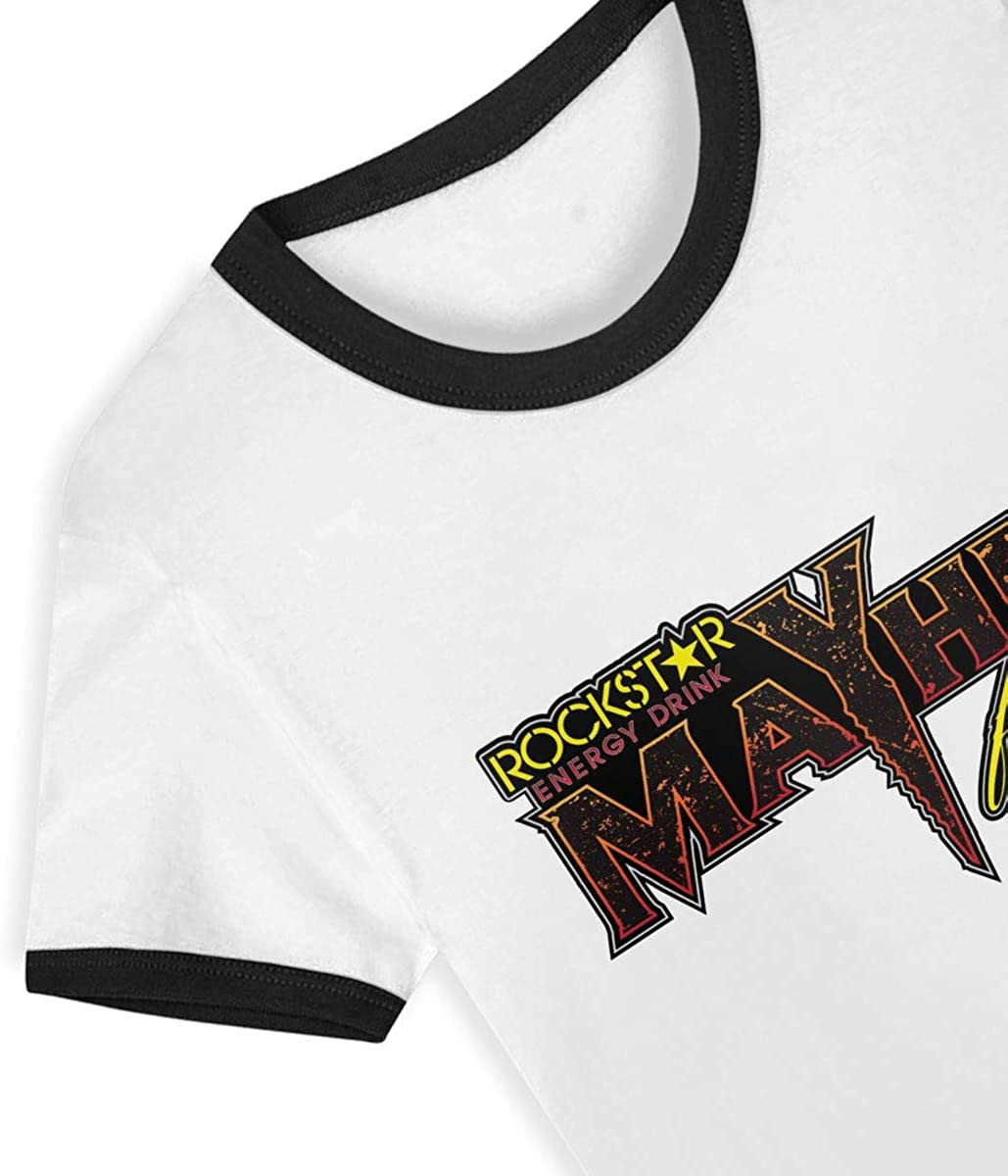 Rockstar Energy-Drink Childrens Short Sleeve T-Shirt Casual Classic Cotton Shirt with Round Collar Black