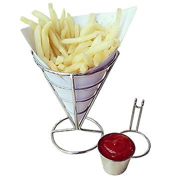 igemy Chip soporte francés Fry patatas fritas Cuenco negro alambre de metal cocina Metal Fry soporte: Amazon.es: Hogar