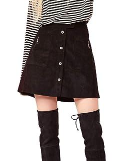 6f0b92982b2b0 SOLYHUX Damen kurzer Mini Kord hocher Tailler Knopfverschlusser Rock ...