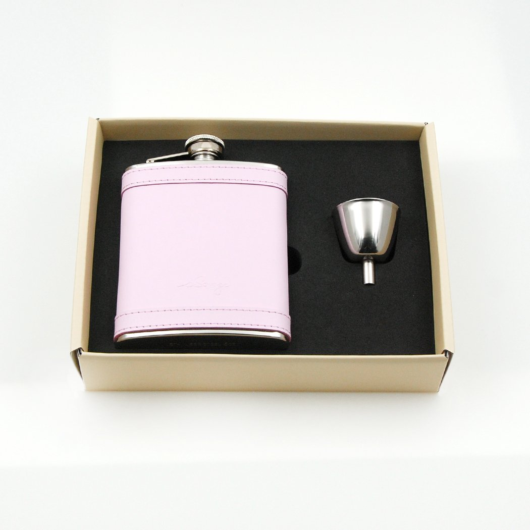 iSavage 6oz Light Pink Leather Wrapped Flask Gift Set with 1pc Leather Flask and 1pc Funnel-YM303