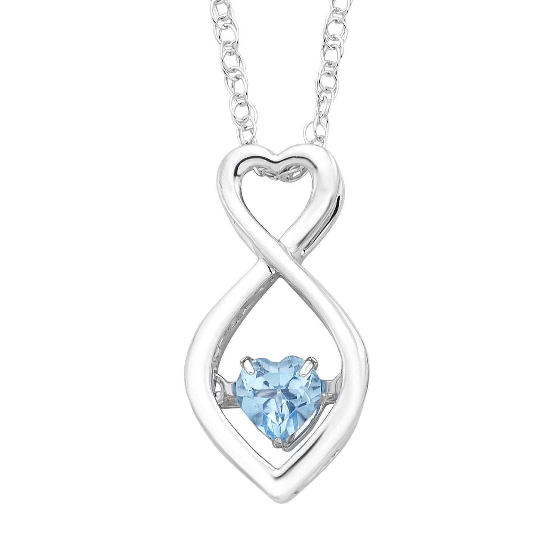 925 Sterling Silver Blue Topaz Birthstone Pendant Necklace, 18''