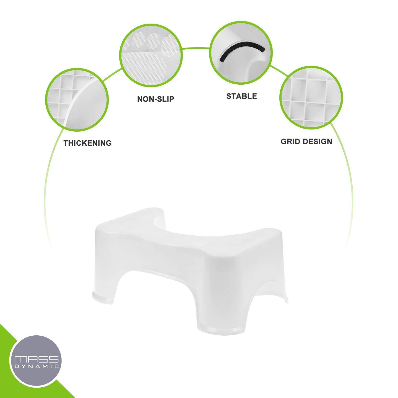 20 cm MASS DYNAMIC Tabouret de Toilette antid/érapant pour Salle de Bain pour Une Bonne Posture des Toilettes