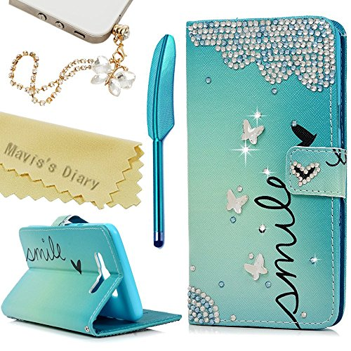 J7 Case,Samsung Galaxy J7 LTE (2016) J710M Case – Mavis's Diary 3D Handmade Wallet PU Leather with Bling Crystal Butterflies Diamonds Card Holders Fli…