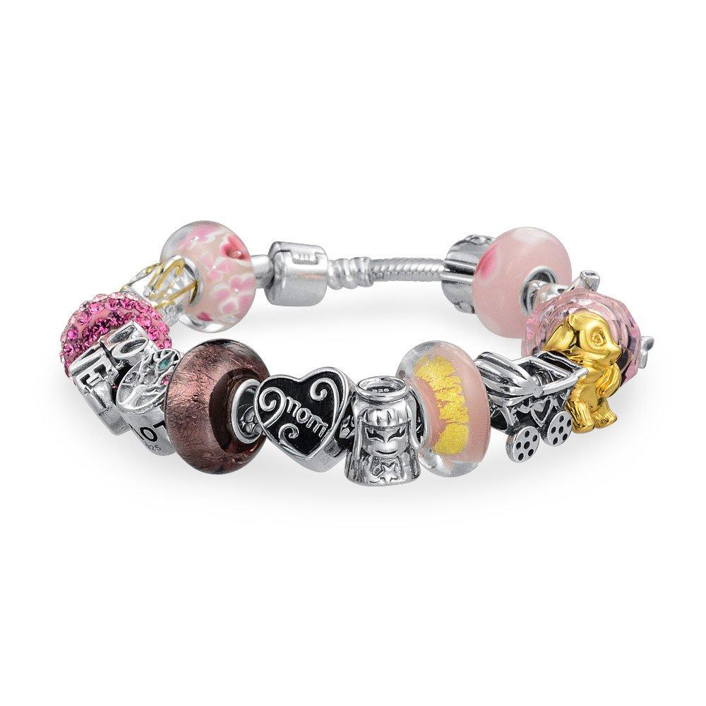 Love Mother Enamel Glass CZ Bead Charms Bracelet Pink 925 Silver