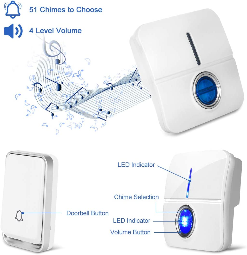 Wall Plug-in Cordless Door Chime Kit 1 Receiver and 1 Push Button IP55 Waterproof Door Entry Bell-COOLtry Self-Powered No Battery Required Wireless Doorbell 51 Chimes 4 Level Volume