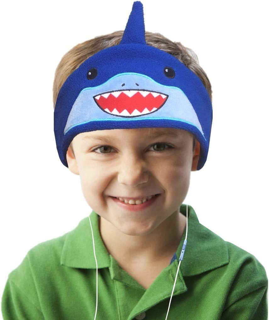 Kids Headphones Children Girls Boys Teens Volume Limiting Foldable and Durable Headphone Headband for School, Home and Travel Blue-Shark