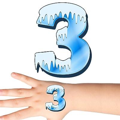 Groovi - Icy Cold Number 3 Age Birthday Temporary Tattoos (25 pack) - TATT-348-3