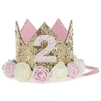 Bosoner Baby Princess Crown 2quot Tiara Kids First Birthday Hat Sparkle Gold Flower Design