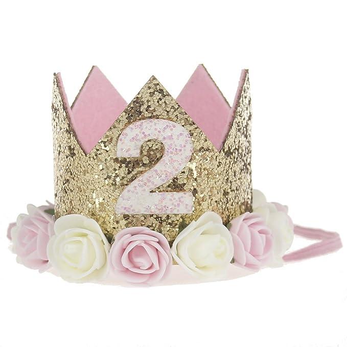 Bosoner Baby Princess Crown 2quot Tiara Kids First Birthday Hat Sparkle Gold Flower Design