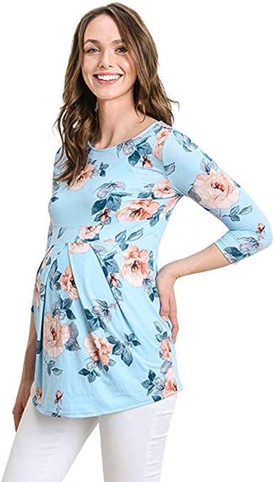Vectry Ropa Premamá Camisetas Camisetas Manga Corta Mujer Blusas De Mujer Elegantes Verano Camisa Larga Mujer Casual Camisa Premama Fiesta 2019 Nuevo Camisetas Premama Azul Claro: Amazon.es: Ropa y accesorios