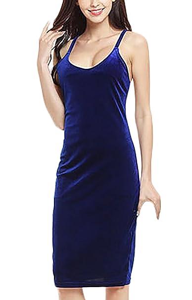 Vestido Mujer Vestidos De Fiesta Elegantes De Noche Terciopelo Vestido Medium Largos Sin Mangas V Cuello