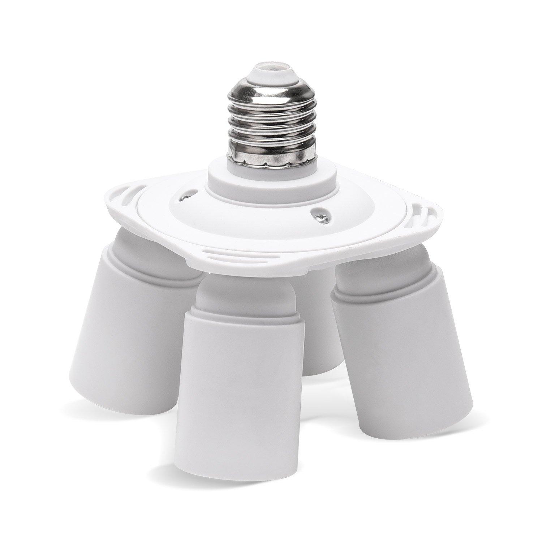 Light Socket Splitter JACKYLED 4 in 1 E26 E27 Base Adapter Converter