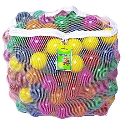 Click N' Play Pack of 200 Phthalate Free BPA Free Crush Proof Plastic Ball, Pit Balls - 6 Bright Colors in Reusable and Durable Storage Mesh Bag with Zipper from Homeco
