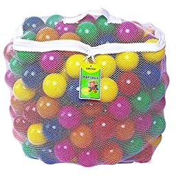 Click N\' Play Pack of 200 Phthalate Free BPA Free Crush Proof Plastic Ball, Pit Balls - 6 Bright Colors in Reusable and Durable Storage Mesh Bag with Zipper