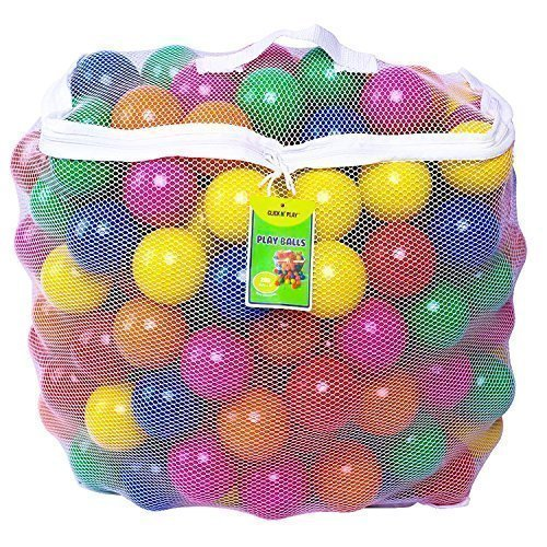 Click N Play Pack of 200 Phthalate Free BPA Free Crush Proof Plastic Ball, Pit Balls - 6 Bright Colors in Reusable and Durable Storage Mesh Bag with Zipper